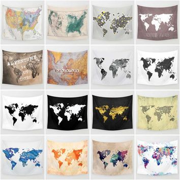 Pop Art Vintage World Map Printed Wall Tapestry Decorative Abstract Map Tapestries (S=130x130cm /M=130x150cm/L=145x145cm)