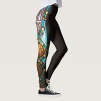 Blue and black medieval glass pattern leggings
