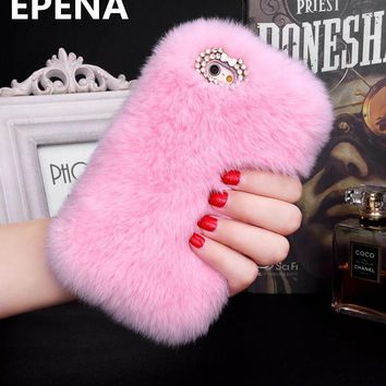 Luxury Plush Furry Phone Cases for iphone 8 7 6 6S Plus Back Cover Faux Rabbit Fur PC Coque For iPhone X XS Max XR 5 5S SE Case