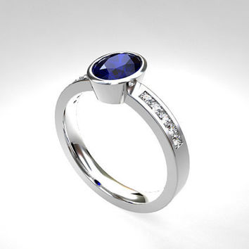 Oval cut blue sapphire engagement ring, diamond ring, bezel engagement, solitaire, white gold, blue sapphire, genuine, unique, wedding ring