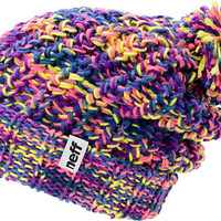 Neff Girls Space Purple & Pink Pom Fold Beanie