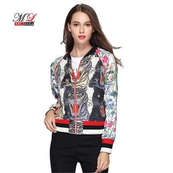 MLinina Floral Bomber Jacket Women Spring Embroidered Print Tiger Thin Long Sleeve Zipper Boho Chic Zipper Streetwear Basic Coat