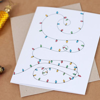 Christmas Card // Illustrated Christmas Lights // Unique Christmas card