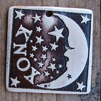 Custom Pet Tag, Pet ID, Dog Tag, Brass Pet Tag, Square Moon and Stars Pet Ta