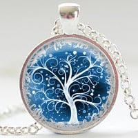 Winter White Tree Necklace Tree Art Pendant Your by FrenchHoney