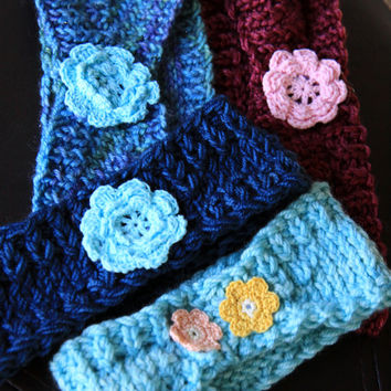 Knit Headbands with Flower Applique, Ear Warmers / Ready to Ship!