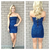 Blue Sequin Fever Strapless Dress