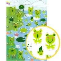 Cartoon Frog Toad Illustrated Animal Jelly Puffy Stickers for Scrapbooking