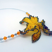 Yellow Orchid flower - short beaded necklace on a memory wire - yellow seed bead jewelry with glass crystals - handmade beadwork - floral