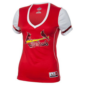 Women's Majestic St. Louis Cardinals MLB Curveball Babe T-Shirt