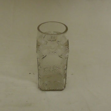 Designer Glass Vase 3 1/2in x 3 1/2in x 7in Glass Rustic Vintage Glass -- Used