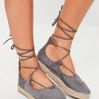 Missguided - Grey Lace Up Espadrilles