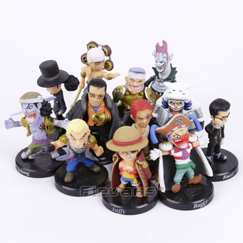 Anime One Piece 12pcs set Luffy Sabo Shanks Lucci Crocodile Moria Buggy Enel PVC Figures Collectible Model Toys 5cm
