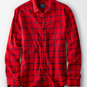 AE Rugged Flannel Shirt, Red