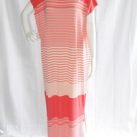 Maxi Dress With Slit/ Long Loose Striped Maxi Dress/ Casual Daywear Dress/ Boho Style