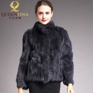 2018 High Quality Real Fur Coat Fashion Genuine Rabbit Fur Overcoats Elegant Women Winter Outwear Stand Collar Rabbit Fur Jacket