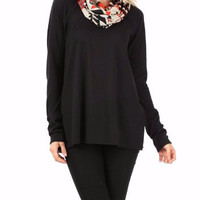 Icicle Crunch Contrast Cowl Neck Black Knit Top