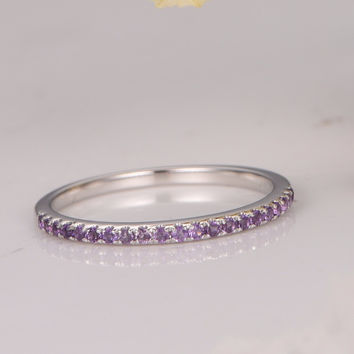 MYRAY Wedding Bands Amethyst Engagement Ring Bezel Set Ring Art Deco Diamond Wedding Ring in 14k White Gold