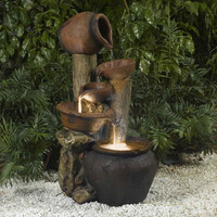 Clay Pot Style Indoor and Outdoor Fiberglass Illuminated Fountain