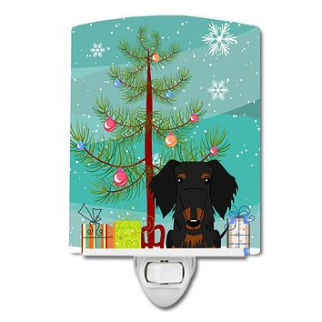 Merry Christmas Tree Wire Haired Dachshund Black Tan Ceramic Night Light BB4252CNL