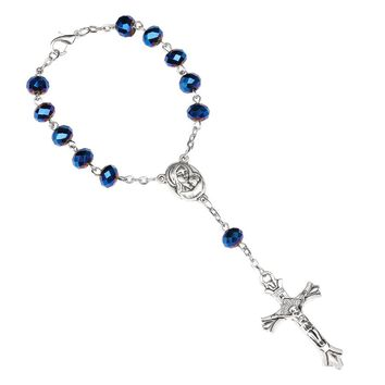 NingXiang Holy Soil Inside Centerpiece Dark Blue Glass Beads Catholic One-Decade Rosary INRI Crucifix Bracelet Auto Rosaries