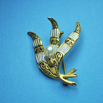 VINTAGE DAMASCENE, Gold, Black and Silver, Flowing Leaves and Faux Pearl Brooch Pin, Spanish Flair! #A772