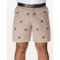"Georgia Khaki ""Bulldog"" Stadium Shorts - University of Georgia - Colleges and Universities Pennington & Bailes - Quality Game Day Attire"
