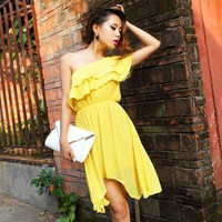 Bqueen One Shoulder Asymmetrical Yellow Dress FQ205Y - Designer Shoes|Bqueenshoes.com