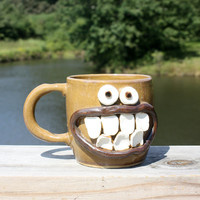 Smiley Face Coffee Cup. Happy Beer Mug. Blue Brown by NelsonStudio