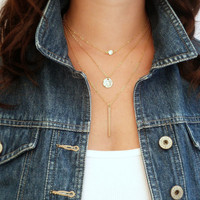 Gold Bar Layered Necklace Set of 3 Gold Hammered Disc Long Bar Necklace CZ Crystal vertical bar Bridesmaid Jewelry Girl Friend Gift