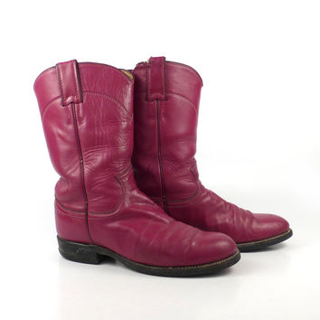 Pink Cowboy Boots Vintage 1980s Raspberry Justin Roper Women's size 6 1/2