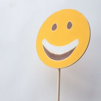 Happy Face with Open Mouth Emoji Wooden Photo Booth Prop