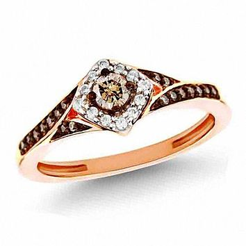 1/4 CT. T.W. Champagne and White Diamond Frame Engagement Ring in 14K Rose Gold