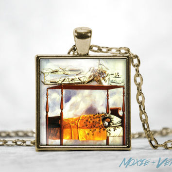 Frida Kahlo Necklace, Dream of the Bed Pendant, Painting, Mexican Art, Art Jewelry, Glass Photo Jewelry