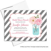 Mason jar bridal shower invite | flower bridal shower brunch invitation | bridal invitation gray and pink | printable or printed - WLP00613