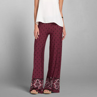 Pattern Wide Leg Flare Pants