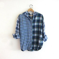Vintage blue Plaid Flannel hoodie / Grunge Shirt jacket / cotton button up shirt coat