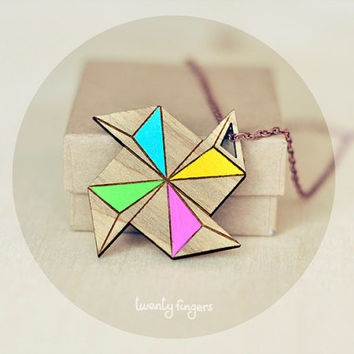 Wood Pendant Geometry Polyhedron ( Laser cut )