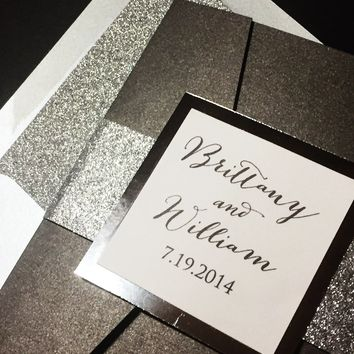 Glitter Wedding Invitation, Luxury Wedding Invitation, Elegant Wedding Invitation, Silver Wedding Invitation - BRITTANY VERSION