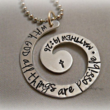 Hand Stamped Jewelry Personalized Jewelry - With GOD All Things Are Possible - Matthew 19:26 Aluminum Inspirational Bible Verse Necklace
