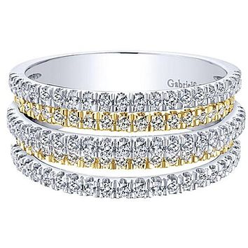 "Gabriel ""Multi-Layer"" Two-Tone Right Hand Diamond Ring"