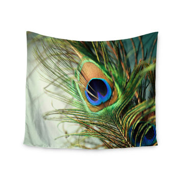 "Sylvia Cook ""Teal Peacock Feather"" Wall Tapestry"