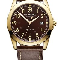 Men's Victorinox Swiss Army 'Infantry' Automatic Leather Strap Watch, 40mm - Brown/ Gold