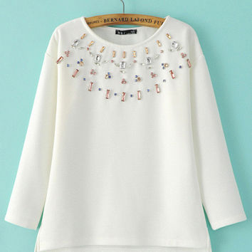 Rhinestone Neckline Patchwork Long Sleeve Top