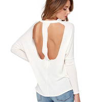 White Long Sleeve Knitted Backless Top