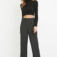 Contemporary Pinstripe Wide-Leg Pants