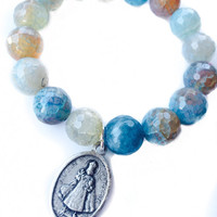 Aqua Blue beaded stretchy Bracelet with your choice of medal: Mary / Lourdes, Infant of Prague / Heart of Jesus