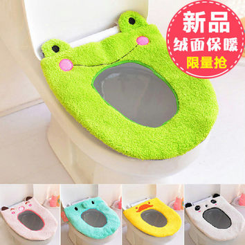 Toilet Seat Cover Mat Bathroom Warmer Toilet Washable Cloth Toilet Seat Warmer Pad Cartoon Plush Toilet Mat Thickening Potty Set