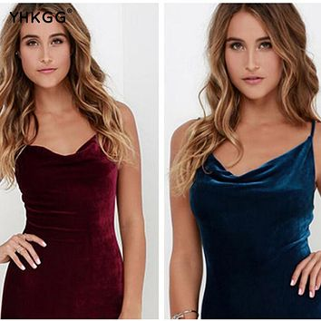 high quality women sexy fashion autumn spaghetti strap sleeves for celebrations and parties the middle robe velour velvet dress