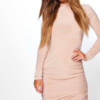 Petite Sadie Slinky Turtle Neck Dress | Boohoo